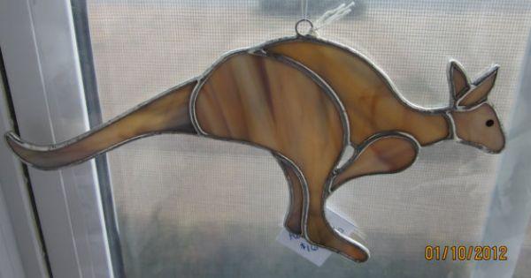 Kangaroo stained glass patterns pinterest kangaroos