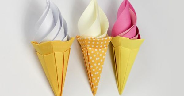 Origami ice cream cone instructions paper kawaii origami pinterest origami activit et - Comment faire un cornet en papier ...