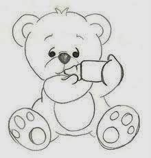 Desenho De Ursinho Com Mamadeira Para Pintar Clipart Bebê