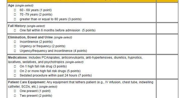 Johns Hopkins Fall Risk Assessment Tool IJHN Learning System OT - physical assessment form