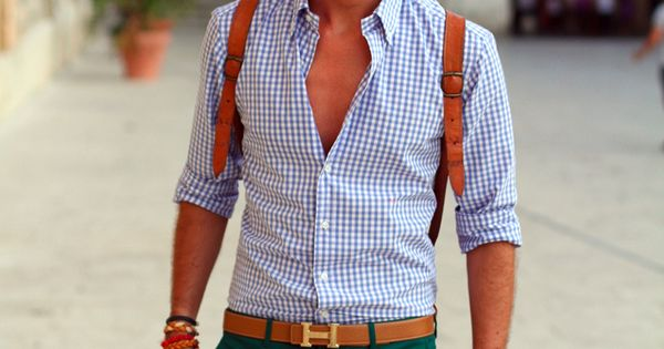 Men's fashion. Hermes belt, open shirt.