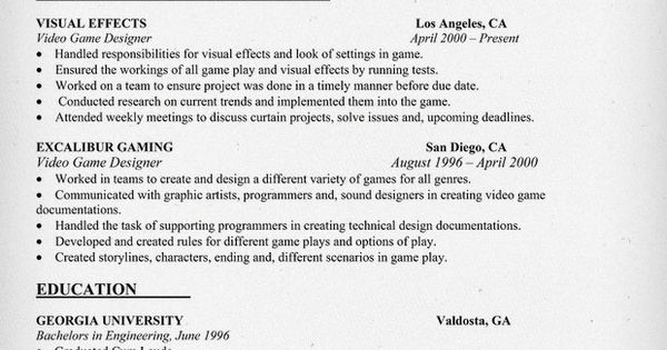 Video Game Designer Resume Example - Dogging #dbbc81e90ab2