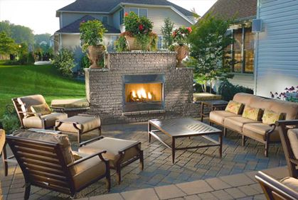 Outdoor Patio With Fireplace Can Be Used As A Privacy Wall