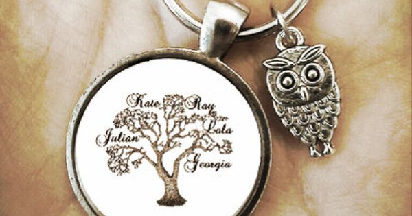 Baby Gifts For Mom From Husband : Custom family tree personalized monogram key chain father