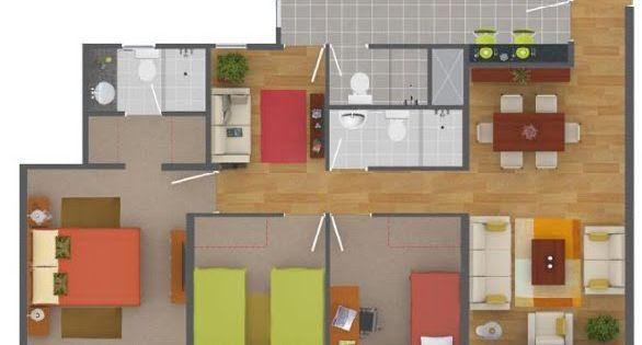 Plano de departamento de 90 metros cuadrados con 3 for Diseno de casa de 90 metros cuadrados