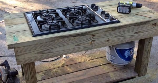 Find a gas range on craigslist or yard sale you have an for Outdoor cooking station plans