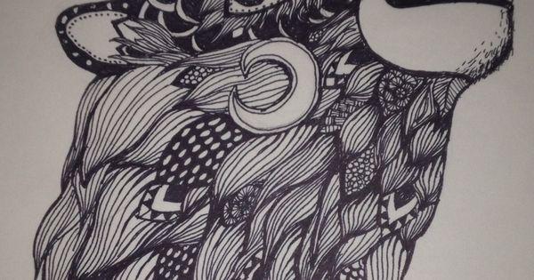 Zentangle Wolf Art Relaxation Zentangles Pinterest