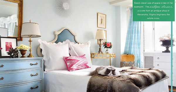 Sara Tuttle Interiors Amazing bedroom with watery blue walls paint color, white