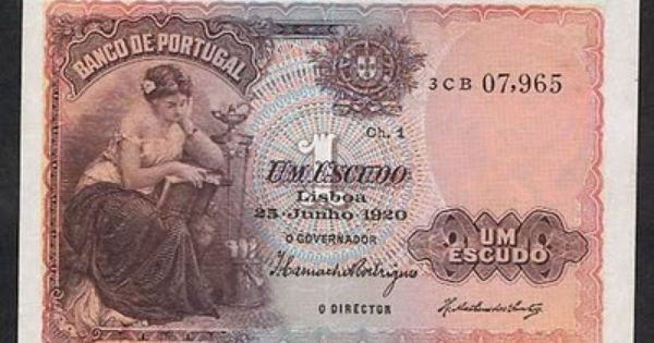 Portugal Banknotes 1 Portuguese Escudo Note Of 1920 Bank Notes Money Paper Money
