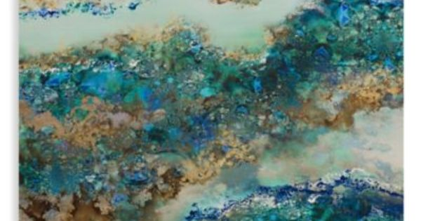 Geode Lacquer Floating Canvas Art In Blue
