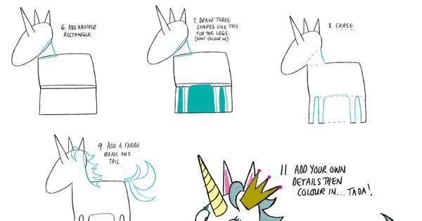 how to draw a cartoon unicorn art for kids hub