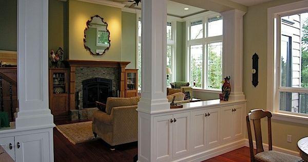 living room  dining room divider cabinetry w  storage  u0026 columns - portfolio