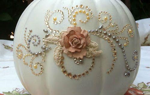Pumpkin Decorating Ideas: Make a glitzy pumpkin with rhinestones and flowers