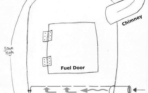 gas bottle wood burner pencil drawing diagram stove plan
