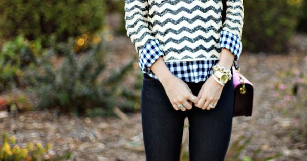 #Chevron sequins mixed with Gingham style preppy fashion fall