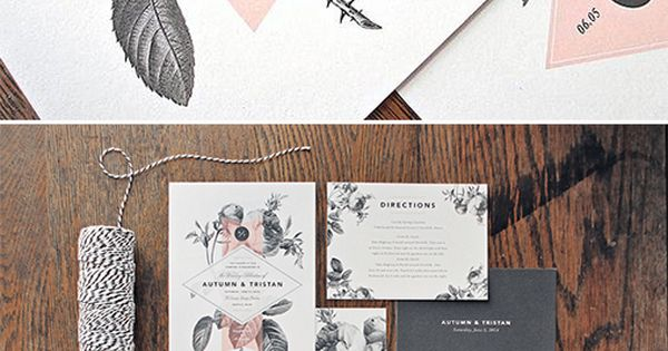 floral stationery | black and white wedding | kraft paper invites |