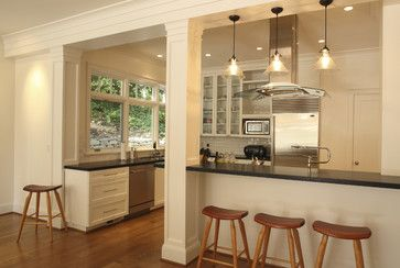 Opening The Kitchen Make The Most Of That Support Post Contemporary Kitchen Living Room Kitchen Kitchen Living