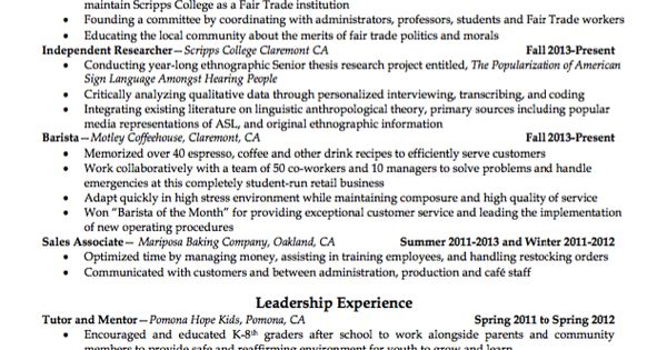 Sample Barista Resume Http Exampleresumecv Org Sample