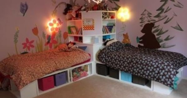 Corner Unit For The Twin Storage Bed Shared Girls Bedroom Boy And Girl Shared Bedroom Boys Shared Bedroom