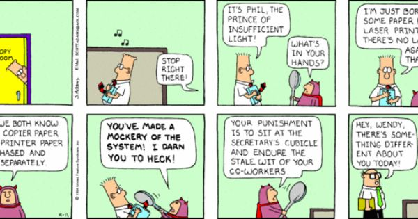"""essays regarding dilbert cartoons Adams, 59, launched """"dilbert"""" nearly three decades ago, and as the strip's client list climbed to 2,000 newspapers, the cartoonist built a licensing and merchandising empire."""