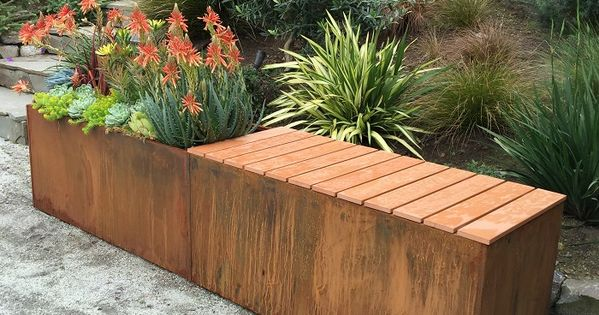 Corten steel metal planter with polystyrene bench could be done with a 60 reclaimed metal - Cubicle planters ...