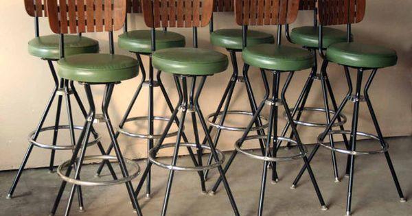 Retro Green And Wooden Bar Stool Slat Back Mid Century