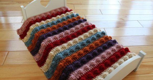 Knitted Popcorn Stitch Afghan : PDF Pattern Hand Crocheted Popcorn Stitch Doll Blanket Afghan for 18 inch Dol...