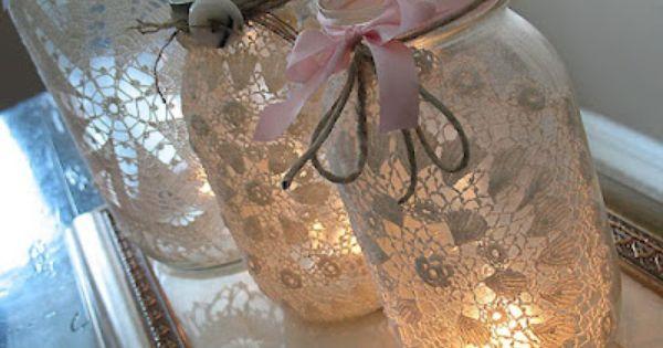 DIY doily + burlap mason jar luminary