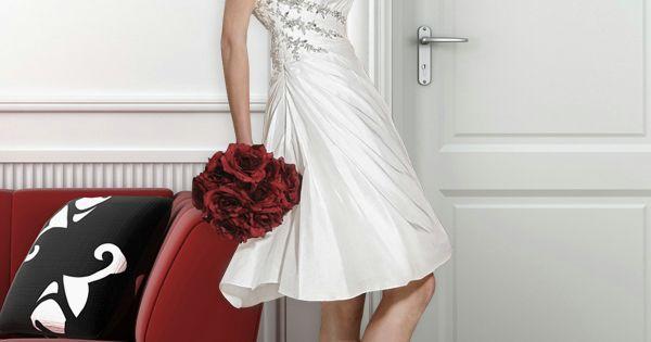 Kurz Hochzeitskleid Standesamt Corsage Seitlich Kristallstein GWRW131 ...