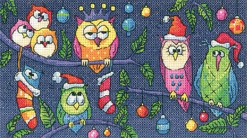 Trio of Owls Counted Cross Stitch Kit