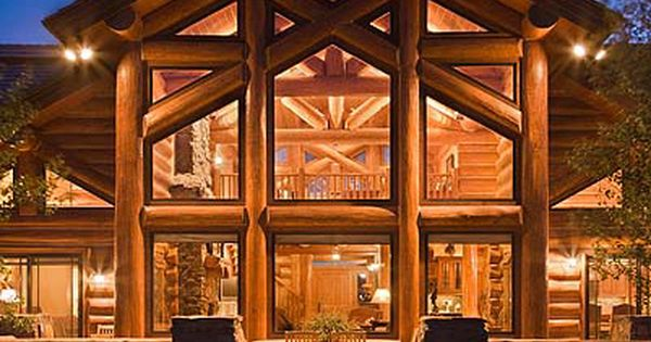 i love log cabins, rustic on the outside, but modern on the