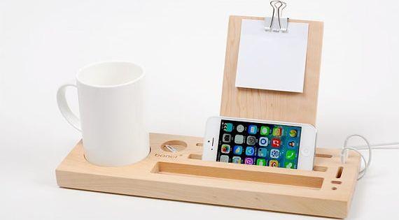 Organizer Wooden Desk Organizer Handmade Tablet By