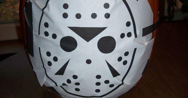 Jason voorhees pumpkin pattern carving halloween