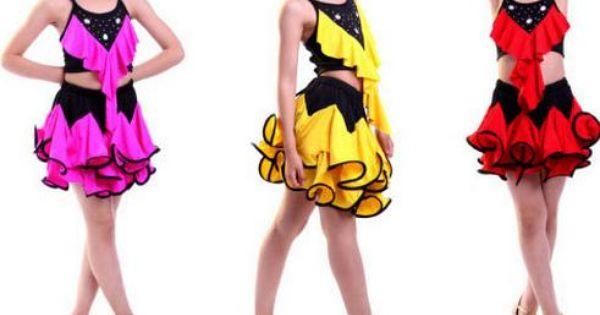 Pas cher 4 couleurs robe de danse latine pour les filles - Danse de salon enfant ...
