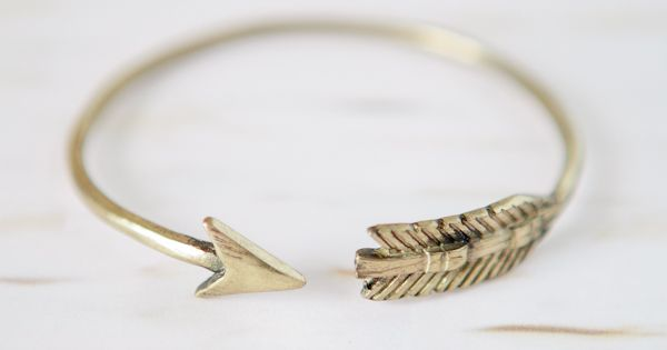 Feather and Arrow Gold Bangle... Hunger Games anyone?