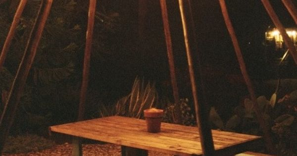 String Lights And Climbing Plants Around Fire Pit Green