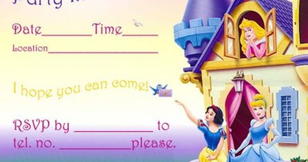 Disney Princess Birthday Invitation free to download and edit – Princess Photo Birthday Invitations