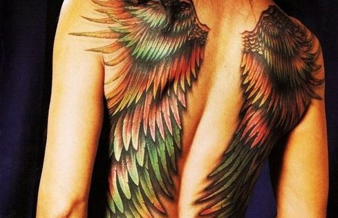 Back Tattoo Ideas Colored Wings
