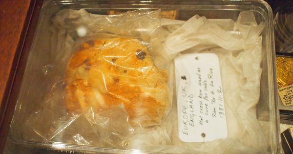 32-year-old hot cross bun on display at the Pitt Rivers Museum in ...