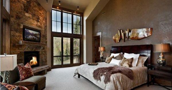 schlafzimmer ideen traditioneller stil steinwand kamin wandfarbe