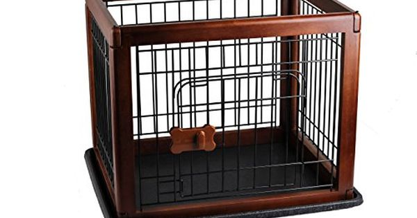 Pawise Dog Crate Playpen With Doors Wood Pet Pen Dog Houses Oak Click Image For More Details This Is An Affiliate Animal Pen Dog Food Storage Dog Diapers