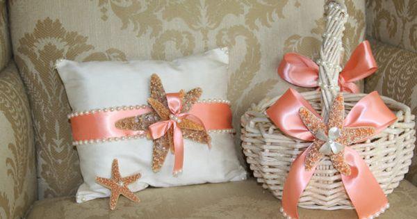 Beach themed flower girl baskets : Coral flower girl basket ring bearer pillow boutonniere