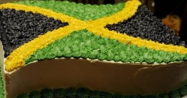 Cake Of Jamaica Flag The Cake Decorated To Replicate The Jamaican Flag Photo By Jamaica Cake Jamaican Party Jamaican Rum Cake