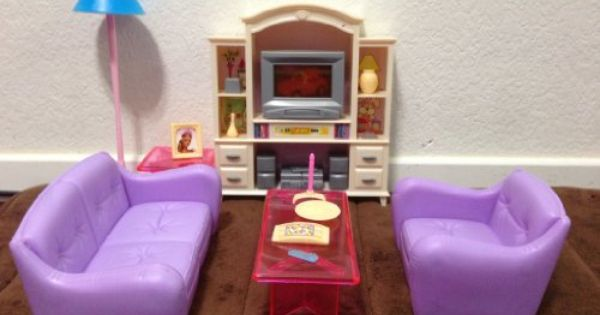 barbie size dollhouse furniture living room with tvdvd set show case huaheng amazoncom barbie size dollhouse