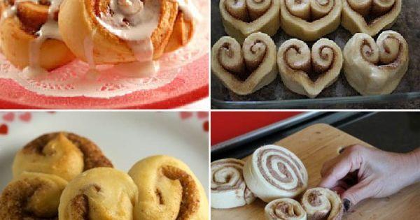 sweet Valentine treat - heart shaped cinnamon rolls