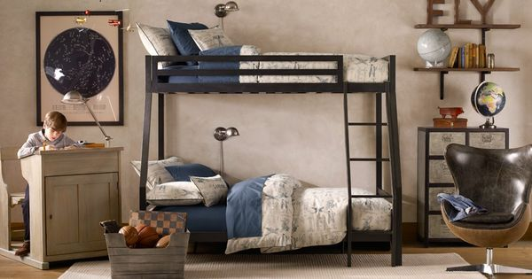 Restoration Hardware Kid And Teen Loft Bed Black With Desk