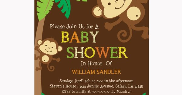 Personalized Jungle Monkeys Baby Shower Printable DIY party invitation for boy -