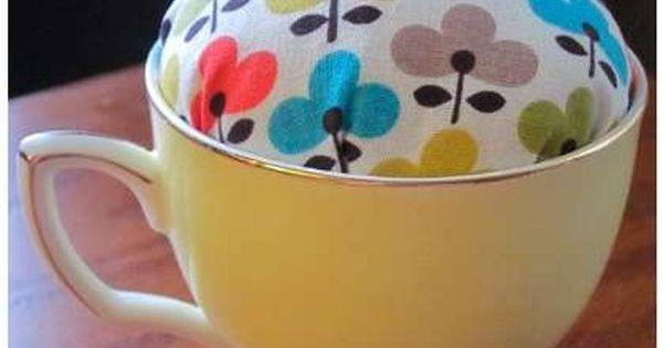 5 minute no sew teacup pincushion.... Use one of great grandma's tea