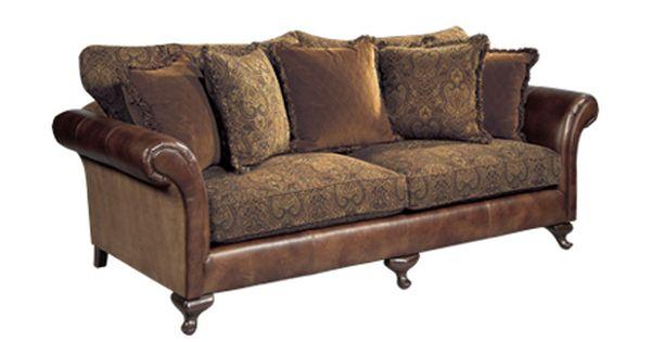 Leather Sofa With Cloth Cushions Bernhardt Henri Sofa