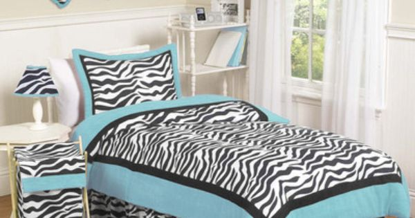 Jojo turquoise blue black zebra print girl kid teen full for Blue zebra print bedroom ideas
